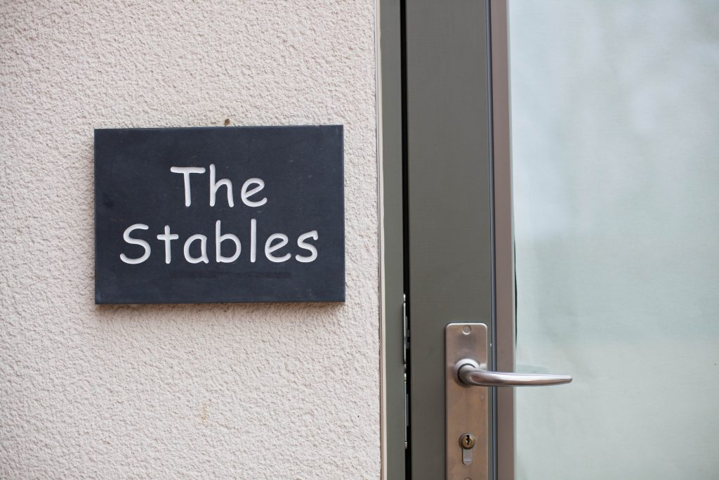 The Stables Accommodation Door & Sign